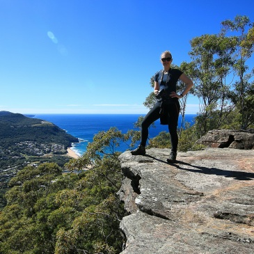 Bushwalk the 'Gong at Mt Mitchell, Stanwell Park. Taking on mountains, still dry in Globewalker t-shirt.